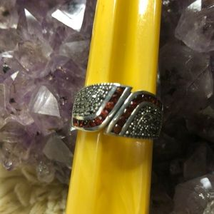 Garnet & Marcasite 925 SS Band Ring